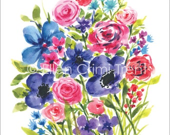 Watercolor flower bouquet/ Anemone watercolors/ purple and pink flowers/ Mothers Day gift/ gifts for her