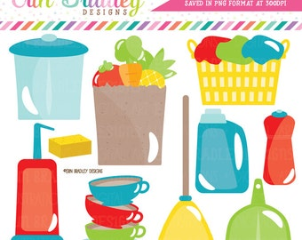 Household Clipart Trash Garbage Vacuum Dishes Laundry Grocery Shopping Chore Clip Art Graphics Commercial Use OK