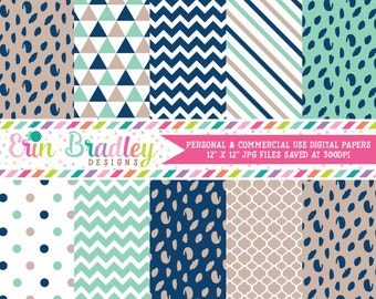 Blue and Beige Digital Paper Pack Spotty Dots Stripes & Triangle Patterns