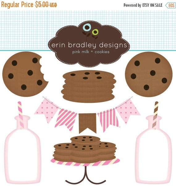 60% OFF SALE Pink Milk and Cookies Clip Art Commercial Use Clipart Graphics