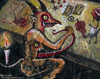 la Gastrocena - Gastrocefali's dinner - medieval demons - 20x28 print from original mixed media painting A4