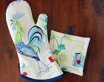 NEW Pot holder and oven mitt set | Retro 50s | Blue and Yellow | Retro kitchen | Oven mitten | Potholder set - Made to order