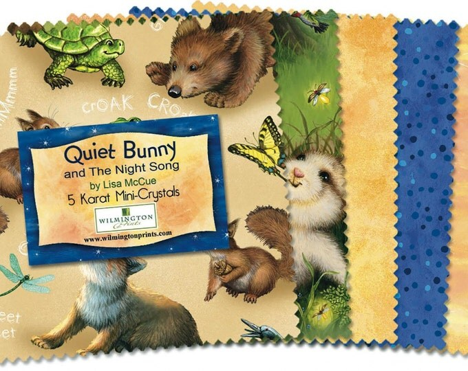 Quiet Bunny and The Night Song 5 inch squares by Lisa McCune for Wilmington Prints