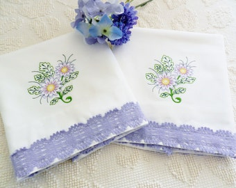 Machine Embroidered Pillowcases, Lavender Pillowcases, Lilac Pillowcases, Vintage Pillowcases, White Vintage Pillowcases, Cotton Pillowcases