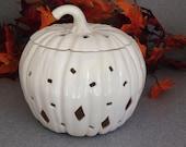 Ceramic White pumpkin luminarie candle holder  Wedding decoration, Thanksigiving decoration, Christmas gift  #P10152015