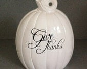 Tall and slim Wedding white Give Thanks Thanksgiving centerpiece Pumpkin #PGT