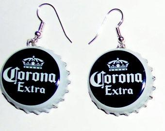 Corona Beer Bottle Cap Earrings Jewelry
