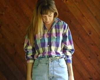 extra 25% off SALE ... Bright Plaid Hi Low Crop Top Button Down Shirt - Vintage 80s - MEDIUM