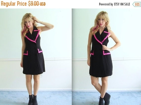 extra 30% off SALE ... T Back Hot Pink and Black Tuxedo Mini Dress Vintage 80s 90s - SMALL S