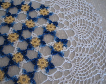 Fantastic, floral,  crochet doily, new,