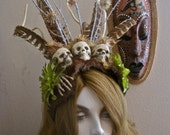 Voodoo Priestess Headpiece Skulls Genuine Vintage Fur Pheasant Feathers Sticks Skeleton Hand and Acid Green Poisonous Flowers (not really)