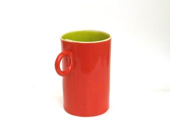 festive hand built porcelain cup ...  happy red and chartreuse inside
