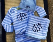 3 piece monogrammed baby boy gown gift set.  Preppy striped baby boy gown set.  Baby Boy Gift Set. 0-6 month size.