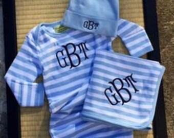 3 piece monogrammed baby boy gown gift set.  Preppy striped baby boy gown set.  Baby Boy Gift Set. 0-6 month size.