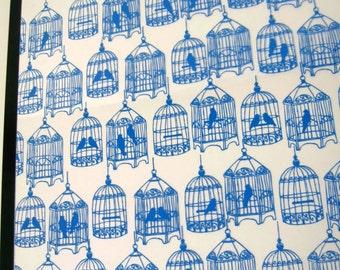 Birdcage .. Magnetic Dry Erase Steel Memo Board / Housewarming Friend Gift / Office Decor / Desk / Wall Hanging / Organization / Blue Bird