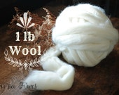 56'S Natural White Ecru Undyed Wool Combed Top Roving Bump for Spinning, Felting Dyeing and Craft Projects by the pound 1 LB