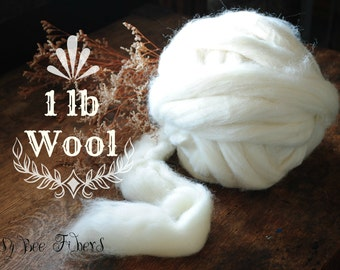56'S Natural Ecru Undyed Wool Combed Top Roving for Spinning, Felting and Craft Projects 1 LB
