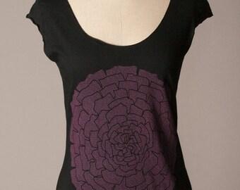 8TH ANNIVERSARY SALE womens black tshirt, womens shirt, floral botanical screenprint, soft summer top