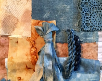 Natural Dyed Silk and Vintage fabrics selection for slow stitch, quilting and mixed media.