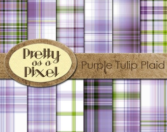 Digital Paper Pack - Purple Tulip Plaid - INSTANT DOWNLOAD - Scrapbooking Backgrounds - 12 x 12 - Set of 12