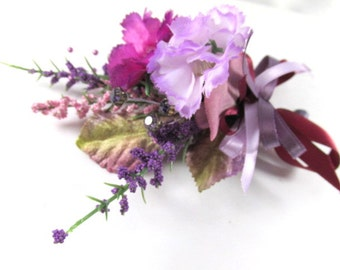 Radiant Orchid Corsage or Boutonniere in Purple, Violet and Lavender (BTN.1303.12)