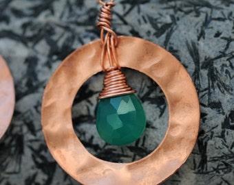 Copper and Green Onyx Earrings
