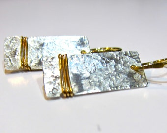 Textured Sterling and 14K Gold Filled Earrings, Mixed Metal Textured, 14K GF and Sterling Textured Simple Earrings