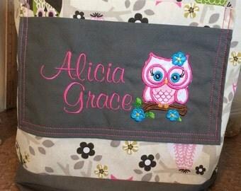 Diaper Bag Owl Personalized Monogrammed shower gift baby girl gift