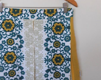 floral in mustard and teal...vintage tablecloth pleated skirt with side seam pockets
