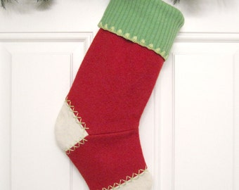 Red Felt Customized Christmas Stocking Personalized Holiday Decoration Handcrafted from Felted Wool Sweater no652