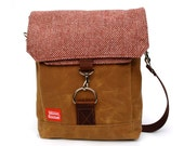 Waxed Canvas Satchel / Cranberry Vintage Wool & Oiled Leather READY TO SHIP