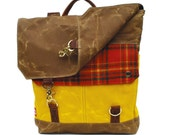 Waxed Canvas Backpack / Persimmon Plaid Wool & Yellow Wax Canvas READY TO SHIP