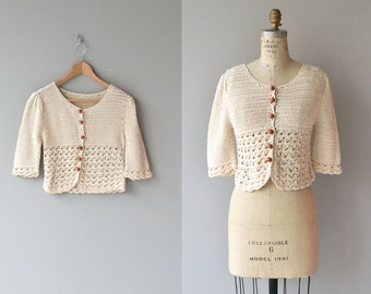 Sinaloa sweater | crochet cardigan | vintage 1970s crochet sweater | cream cotton crochet 70s cardigan