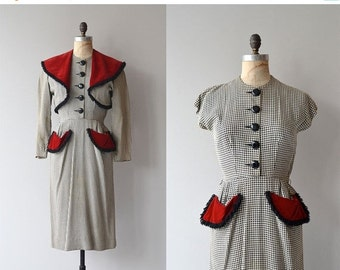 25% OFF SALE Farnese Check dress and jacket | vintage 1940s dress • 40s dress and jacket