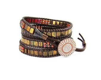Metallic Bronze Tila Beaded Leather Wrap Bracelet 4 Wraps Handmade,  Natural Leather Cord, Ladder Bracelet, Miyuki Seed beads