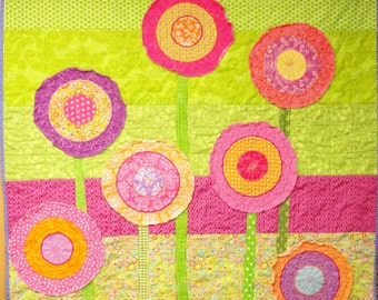 "Poppy baby quilt -poppies baby/ wall art quilt- ""elation!"" in pink, purple and orange on green - Ready to ship- Ships free to USA"