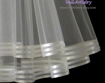 Wedding Veil, Radiance Veil, Waist or Shoulder Veil, Ivory Veil, 2-Tier Veil, Stripe Ribbon Edge Veil, Made-to-Order Veil, Bespoke Veil