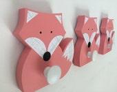 Fox Wall Hook, Fox Coat Hanger, Coral Pink, Girls Woodland Decor,  Woodland Nursery,  Wooden Fox Hanger, Kids Decor, Eco-friendly