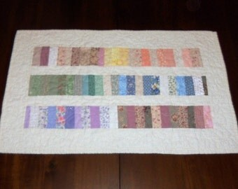 Quilted Table Runner, Floral Table Topper, Sale Priced, Roman Bars, Dining Table Decor, 15 x 25 inches, Pastel Colors,  Machine Quilted