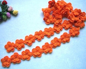 Hand-crochet orange pear flower wool scarf-simple fashion