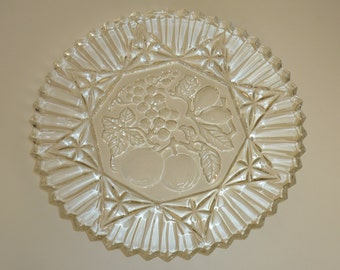 Vintage Federal Glass Pioneer Chop Plate Round Serving Platter Fruit Design Clear Glass