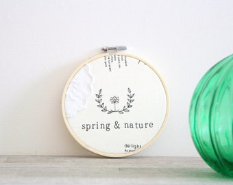 Embroidery hoop wall art \ Spring & Nature framed linen