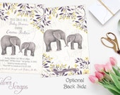 Watercolor Elephants and Flowers Custom Baby Girl Shower Sprinkle Invitation, Egglant Purple Yellow Lavender Grey Floral Mommy Matching Back