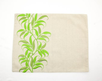 Leaves Placemat, Linen Placemats set of 4, Natural Linen Green leaves Embroidery, Fabric Placemat, Leaf Table Linen, Housewarming gift
