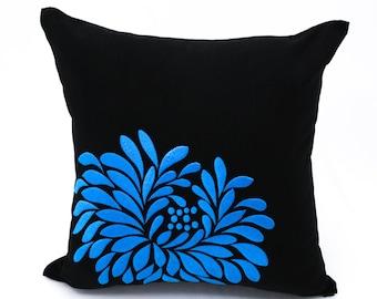 Blue Flower Pillow Cover, Black Linen Blue Floral Embroidery, Floral Couch Pillow, Black Blue Cushion, Modern Home Decor, Pillow Shams