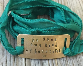 Green wrap bracelet be your own kind of beautiful gift for her stackable bracelet