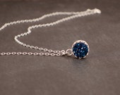 Stunning Blue Druzy Necklace in Victorian Style Bezel in Sterling Silver - Drusy Pendant - Minimalist Dainty Necklace
