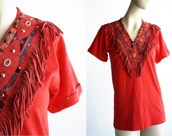 Vintage Red V Neck Tee with Suede Leather Fringe Accent By Hangups