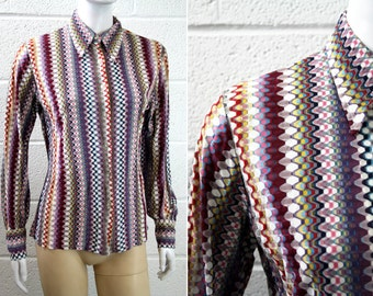 Vintage Zig Zag Multi Color Woman's Button Down Blouse