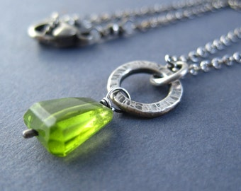 Peridot Nugget Necklace, Sterling Silver Necklace, Evergreen Stone, August Birthstone Necklace, Gift for Her